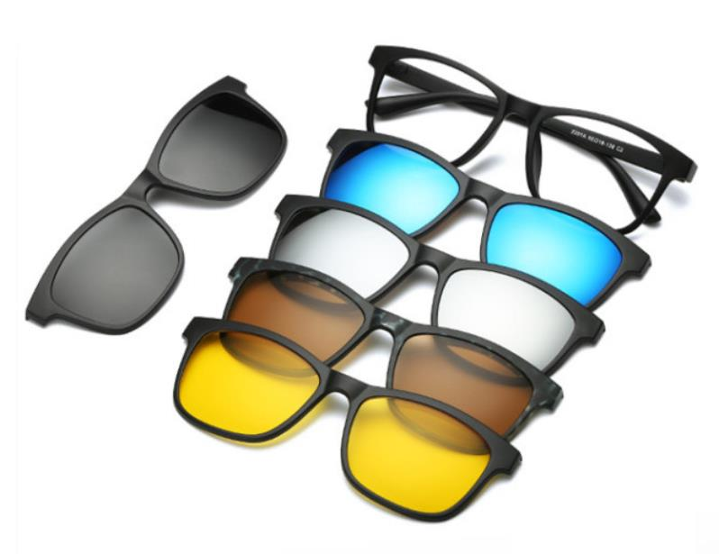 Felt Pad 5pc/set Magnetic Clip Sunglasses Women Glasses With Magnetic Clip On Sunglasses Polarized Male Multi-Purpose Eyewear(China)