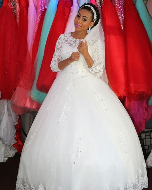 Custom Made South African Wedding Dresses Long Sleeves Lace Appliques Beaded Nigerian Ball Gown Romantic Bridal