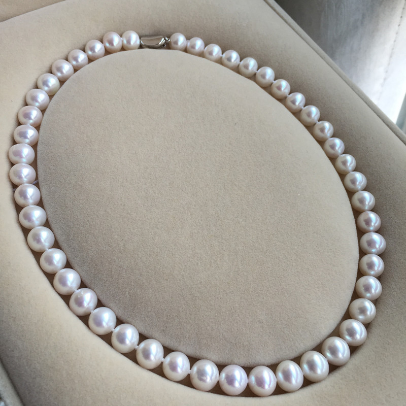 Women Gift word 925 Sterling silver real Taihu is the natural freshwater pearl necklace 9-10 mm white pink nearly circular flawsWomen Gift word 925 Sterling silver real Taihu is the natural freshwater pearl necklace 9-10 mm white pink nearly circular flaws