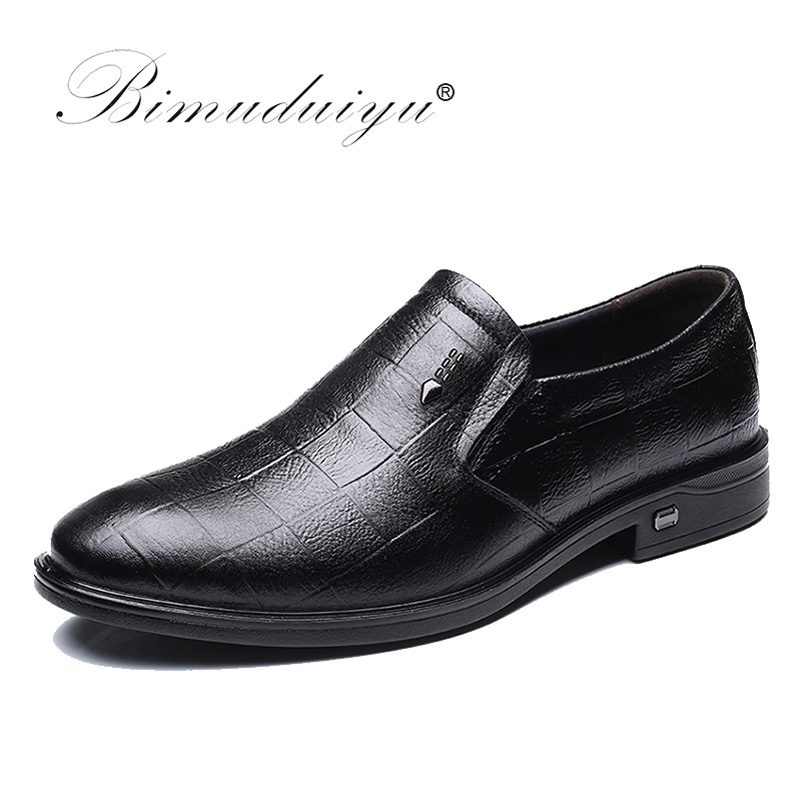BIMUDUIYU Genuine Leather Shoes Men Slip-on Black/Brown Oxford Shoes Business Casual Shoes Loafers Breathable Flats Shoes Men dadawen boy s girl s slip on loafers oxford shoes