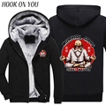 2017 Winter Men Sweatshirts Funny Anime Dragon Ball Z Master Roshi Print Thicken Hoodies Warm Outerwear Casual Coat Thermal Tops