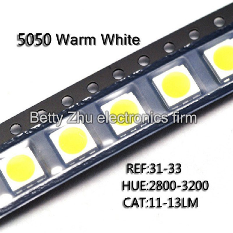 200PCS/LOT 5050 SMD LED warm white light-emitting diodes highlighted bright