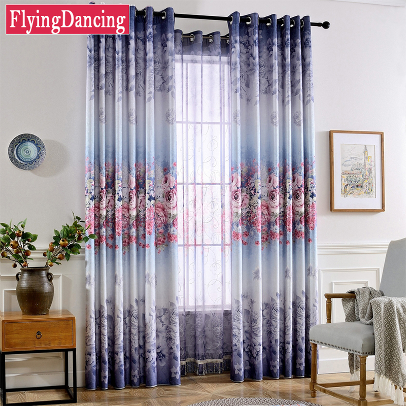 Gradient Style Blackout Curtains For Living Room Flowers Printing Bedroom Window Drapes Treatment Custom Made FD22