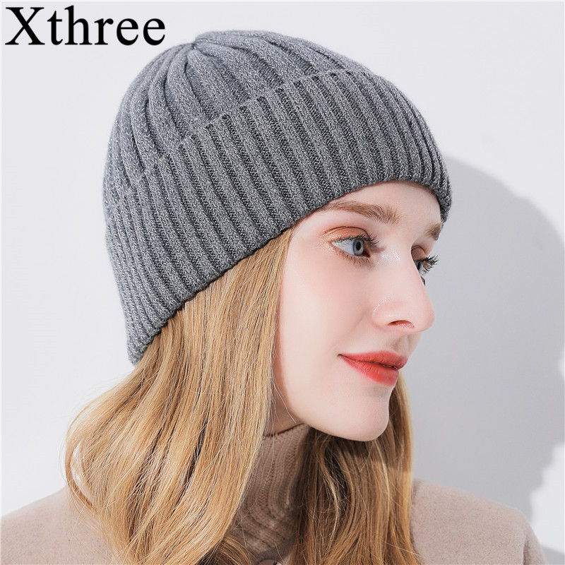 Xthree Winter   Beanie   Hat For Women Girl 's Wool   Skullies     Beanies   Glittering Silk Knitted Hat Gorro Cap