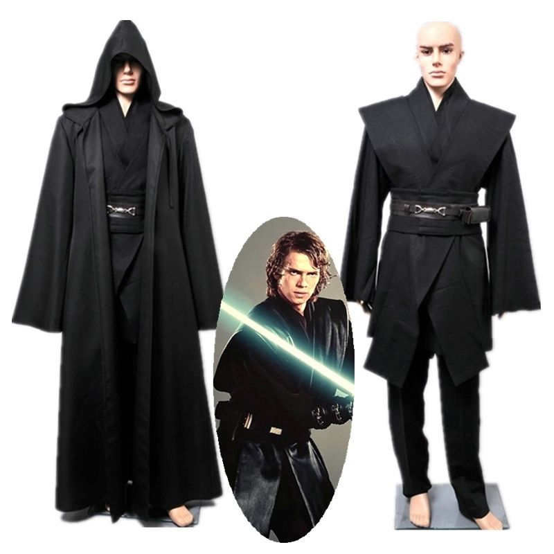 Star Wars Cosplay Anakin Skywalker Darth Vader Outfit Robe Cloak Black Version Halloween Carnival Cosplay Costume For Adult Men