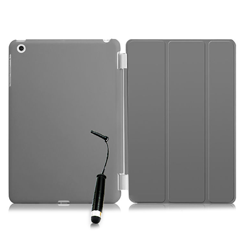 New Smart Stand Magnetic Leather Case Cover For Apple iPad Mini 1 2 & 3  colour:Grey Translucent new folding filio magnetic pu leather stand smart case for mini ipad 2 cover coque fundas for apple ipad mini 3 2 1 retina cases