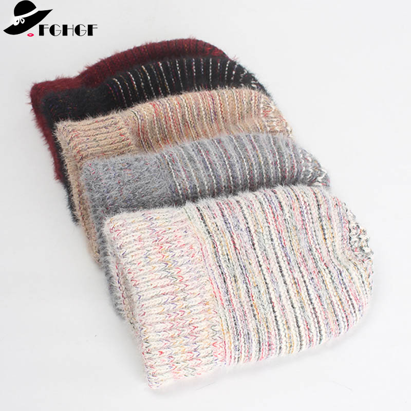 FGHGF 2018 Hat Trendy Winter Hat Mix color Femme Bonnet knitting Warm Cap Thick Hats for Women hat   skullies     Beanies   Female Cap