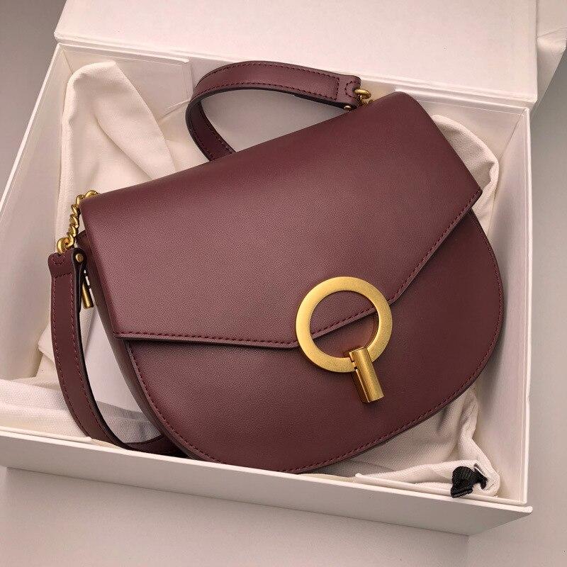 Sac A Main Femme De Marque Luxe Cuir 2019 Retro Semi circle Lock Saddle Bag Genuine Leather Handbag Round Shoulder Messenger Bag