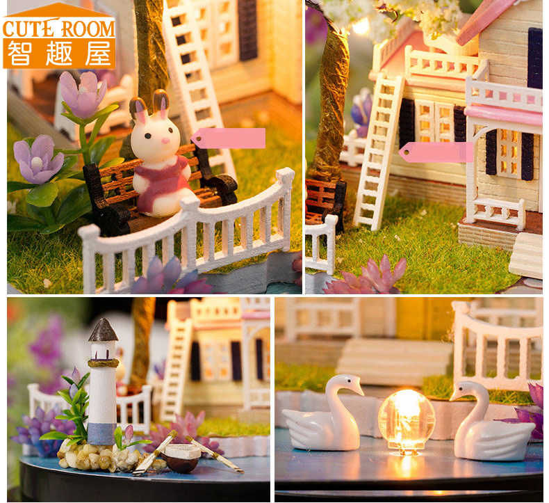 CUTE ROOM DIY Wooden House Miniaturas with Furniture DIY Miniature House Dollhouse Toys for Children Christmas and Birthday B21