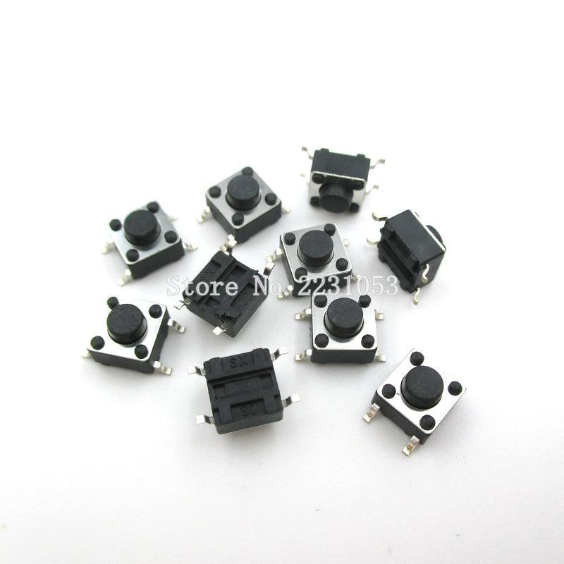 100PCS/Lot SMD Button 6x6x4.3mm 6*6*4.3mm Plastic Head Tact Switch Push Bottun Switch 4 Pin Micro Switch 100pcs lot smd pc817 el817s sop 4 photocoupling device