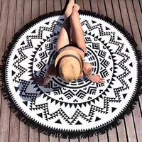 Super Absorbent Soft Bohemian Style Luxury Round Tassel Circle Beach Towel Easy Wash Superfine Bath Towel
