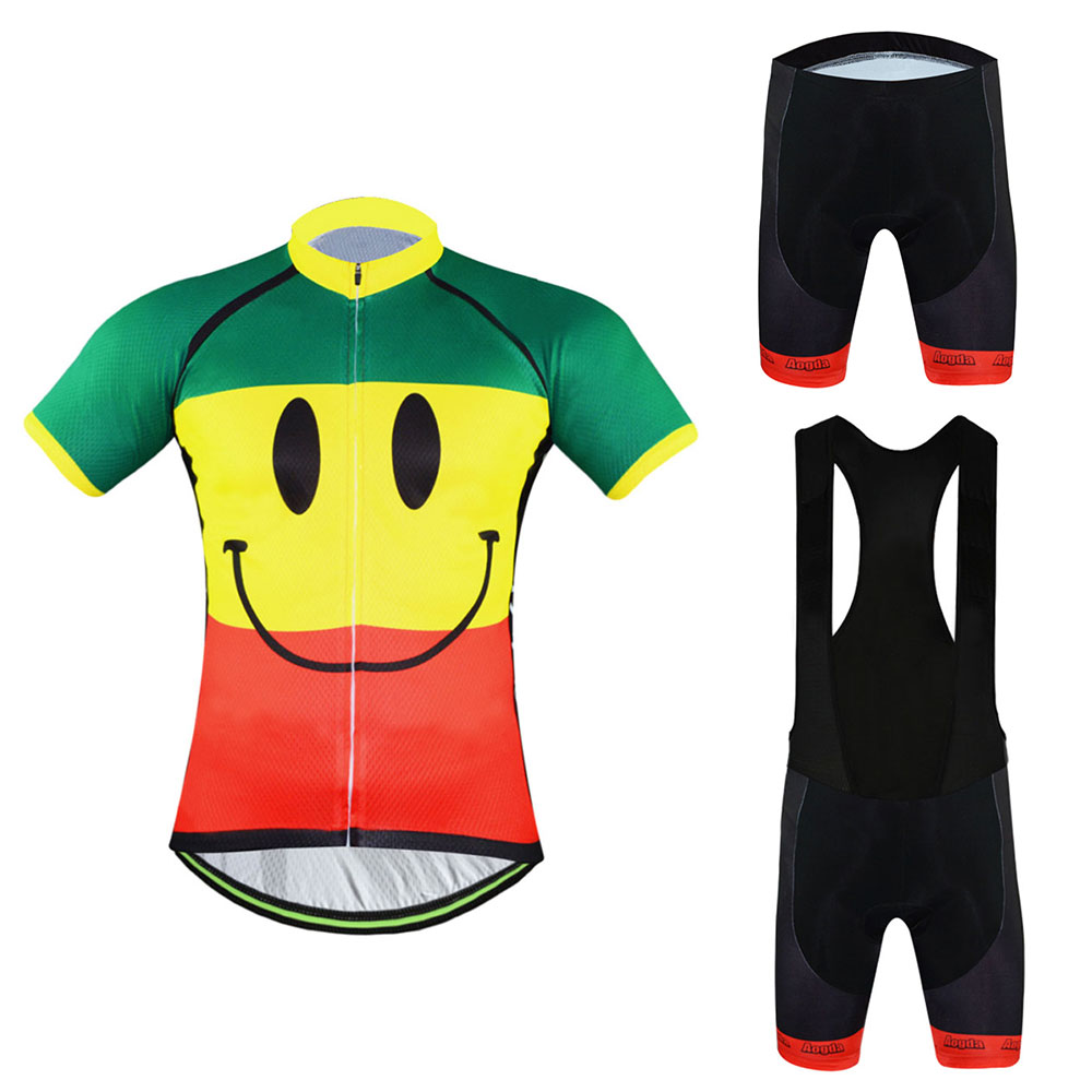 Aogda Smiley Men's Cycle Clothing Top Cycling Jersey & Bike (Bib) Shorts Gel Padded Kit Bicycle Set Reflective women s long cycling clothing mountain bike kit reflective cycle jersey