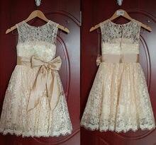 Новинка; кружевные платья с цветочным узором для девочек поясом;