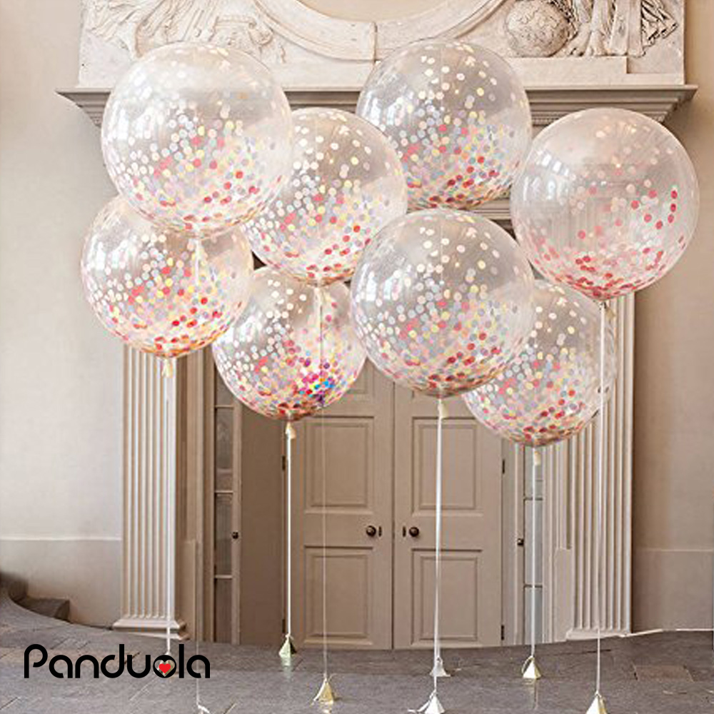 36 Inch Giant Confetti Balloons Rose Gold Clear Balon