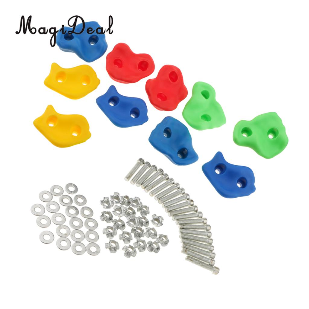MagiDeal 10Pcs Rock Climbing Wall Stones Hand Feet Holds Grip Kits for Children Summer Outdoor Fun Climbing Play Toy- Small Size