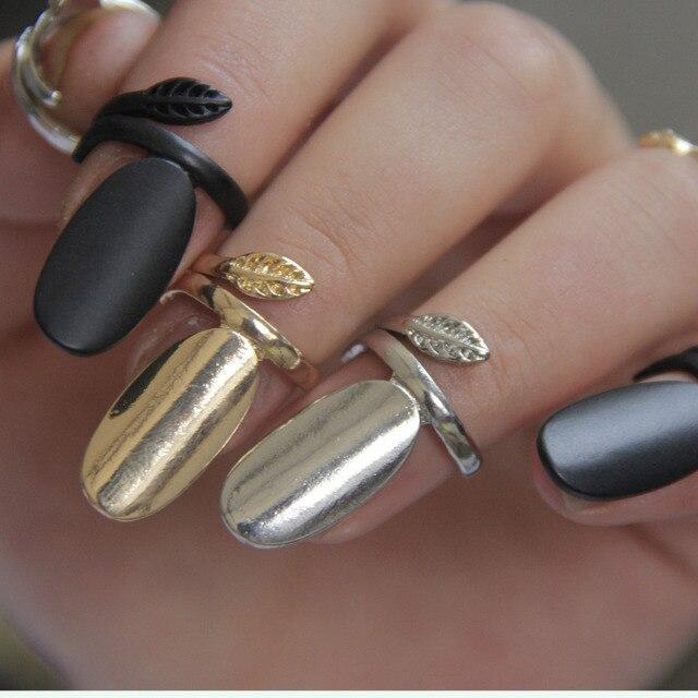 ( Mini смешать > $ 10 ) панк Rock листья золото / серебро / черный покрытие сплав гвоздь кольца костяшки кольцо для женщины