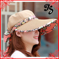 Hot Sale Beach Cap Sunbonnet Visor Women Sun Hat Newly cloth & straw Wide Brim Self-tie ribbon Bow Summer Beach hat Headwear