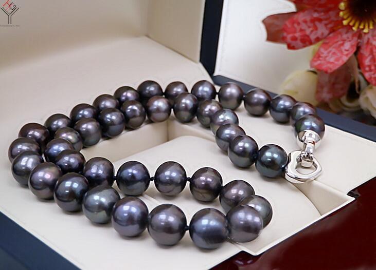 Ensemble de bijoux pour femmes 11-13mm couleurs noir gris collier ras du cou mixte Bracelet fermoir coeur perle d'eau douce naturelle