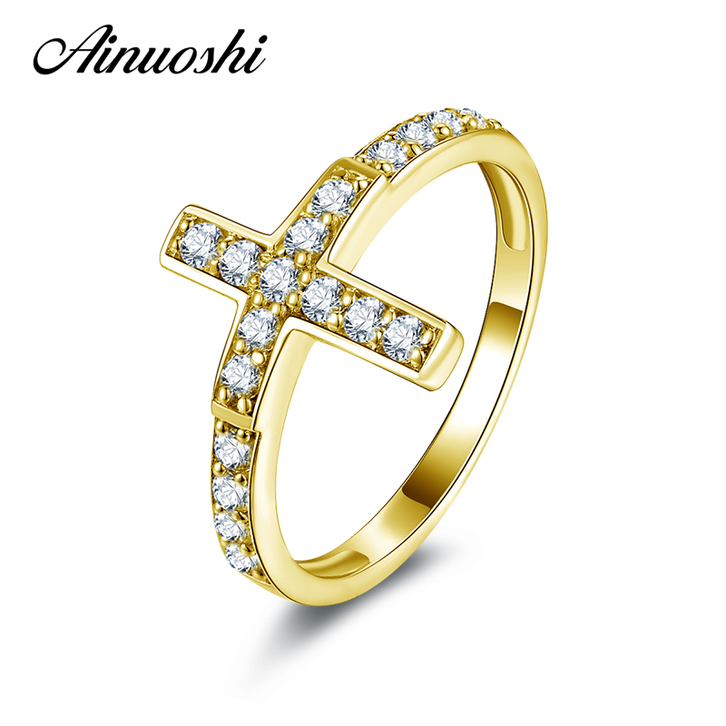 AINUOSHI 10K Solid Yellow Gold Wedding Ring Micro Pave Sona Simulated Diamond Bands Jewelry Women Engagement Eternity Ring Bague