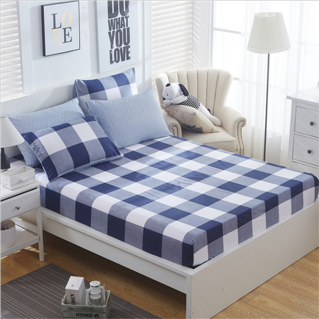 100% Cotton 3pcs Bedspread Modern Bedroom Bed Sheets Lattice Pattern Fitted  Sheet Comfortable Sleep Mattress