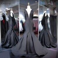 Real Sample Long Mermaid Evening Dress 2018 V Neck Sleeveless Backless New Design Women Formal Evening