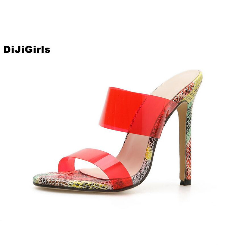 DiJiGirls Summer Multi Color Women Sandals High Heels Fashion Smooth Upper Bright Color Snake Pattern Banquet Heels Woman Shoes