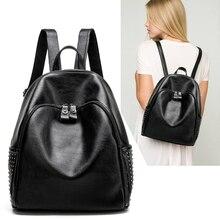 100% натуральная кожа женщины рюкзак дизайнерские женские рюкзаки школьников сумки модные натуральная кожа путешествия rivetbackpack