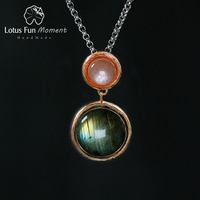 Lotus Fun Moment Real 925 Sterling Silver Natural Stone Fashion Jewelry Mysterious Lake Design Pendant without Chain for Women