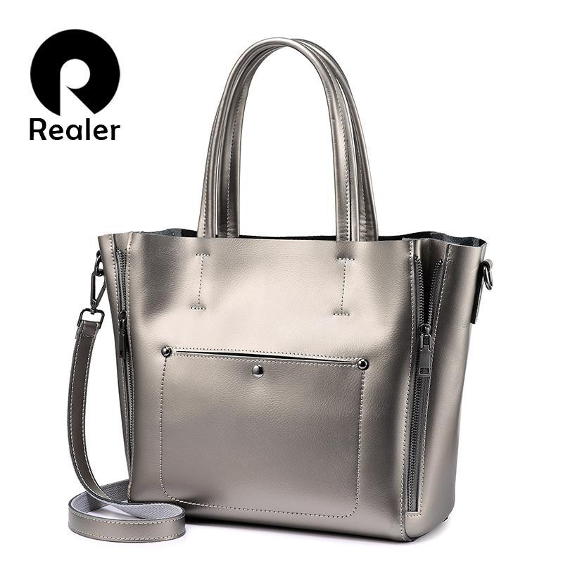 REALER Shoulder bag tote women split leather ladies handbags designer high quality Pink large crossbody messenger