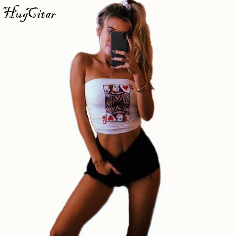 Hugcitar baumwolle poker face print mode tank top 2018 frauen stretchy sexy camis crop top