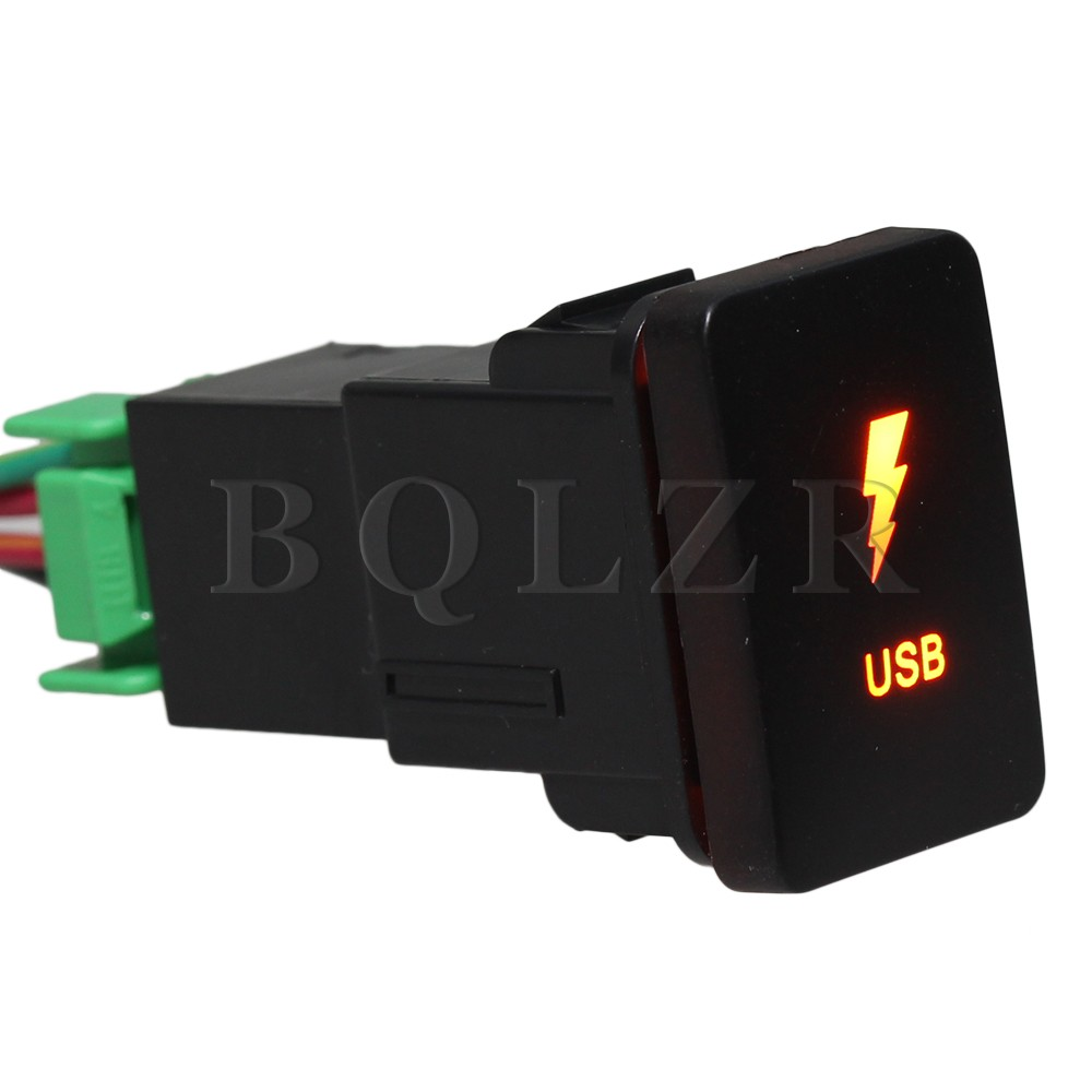 BQLZR Push Switch Harness S-NT USB Lightning Toggle Switch Dual Orange LED for TOYOTA bqlzr dc12 24v black push button switch with connector wire s ot on off fog led light for toyota old style