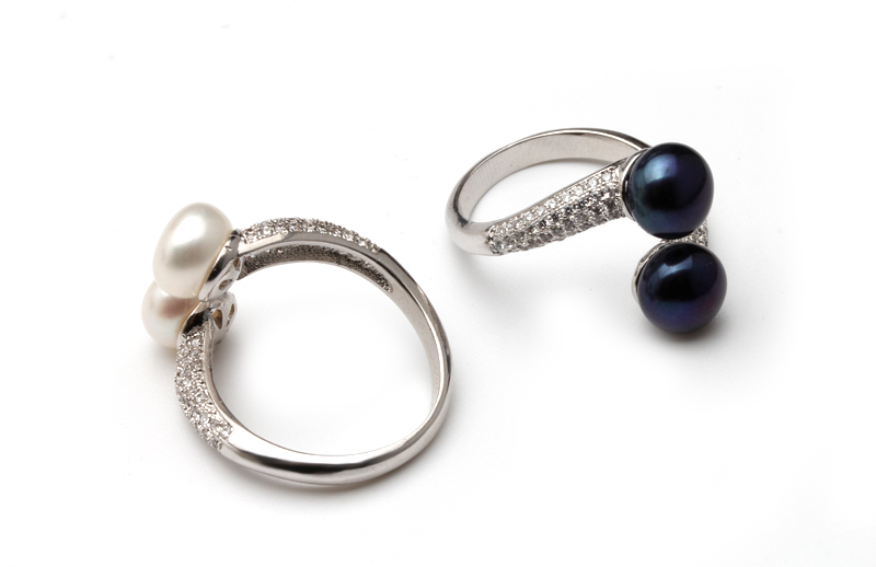 HTB1yDhIeval9eJjSZFzq6yITVXa0 Real 925 Sterling Silver Double Pearl Rings Women, AAA Cubic Zircon Fashion Jewelry Vintage Wedding Rings Gift Black Adjustable