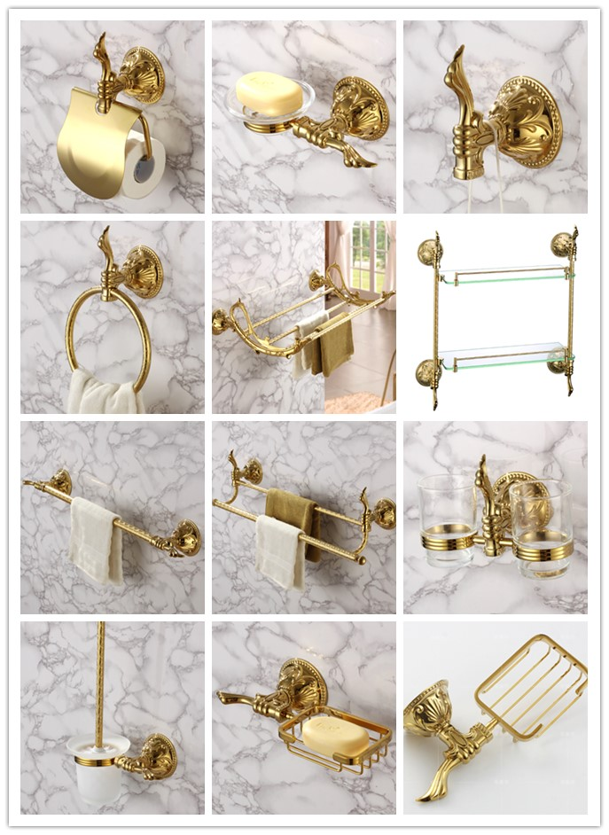 Luxury gold 11-Piece Bathroom Hardware Accessory Set Towel bar rack shelf Robe hook paper holder ring Toilet brush Soap dish towel ring black towel holder towel bar bathroom accessories set paper holder luxury toilet brush holder robe hook soap dish