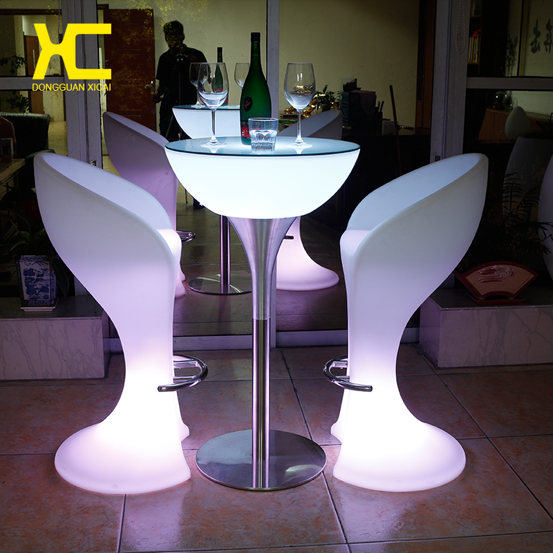 Led Luminous Bar Stool Cocktail Table Color Changing Wine Drinking Desk Furniture Set For Club Ceremony