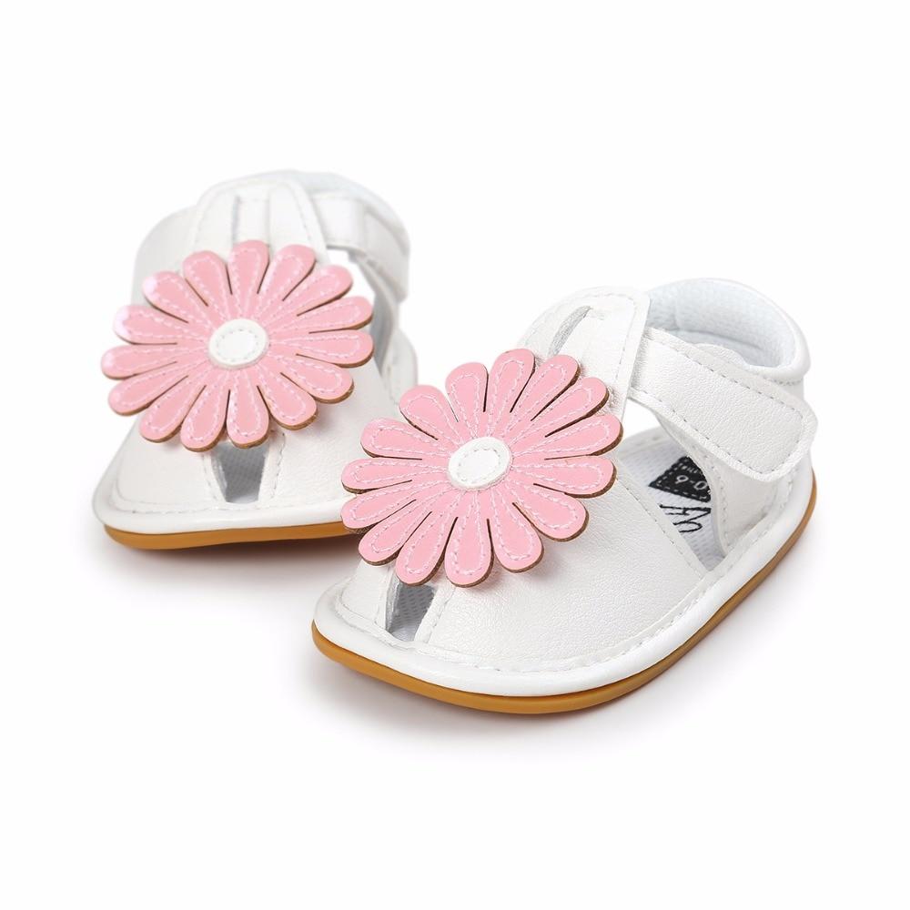 2019 جودة عالية عباد الشمس نمط الأميرة الأحذية بو الجلود الصيف الوليد لينة سوليد المضادة للانزلاق للطفل رضيع الصنادل الطفل