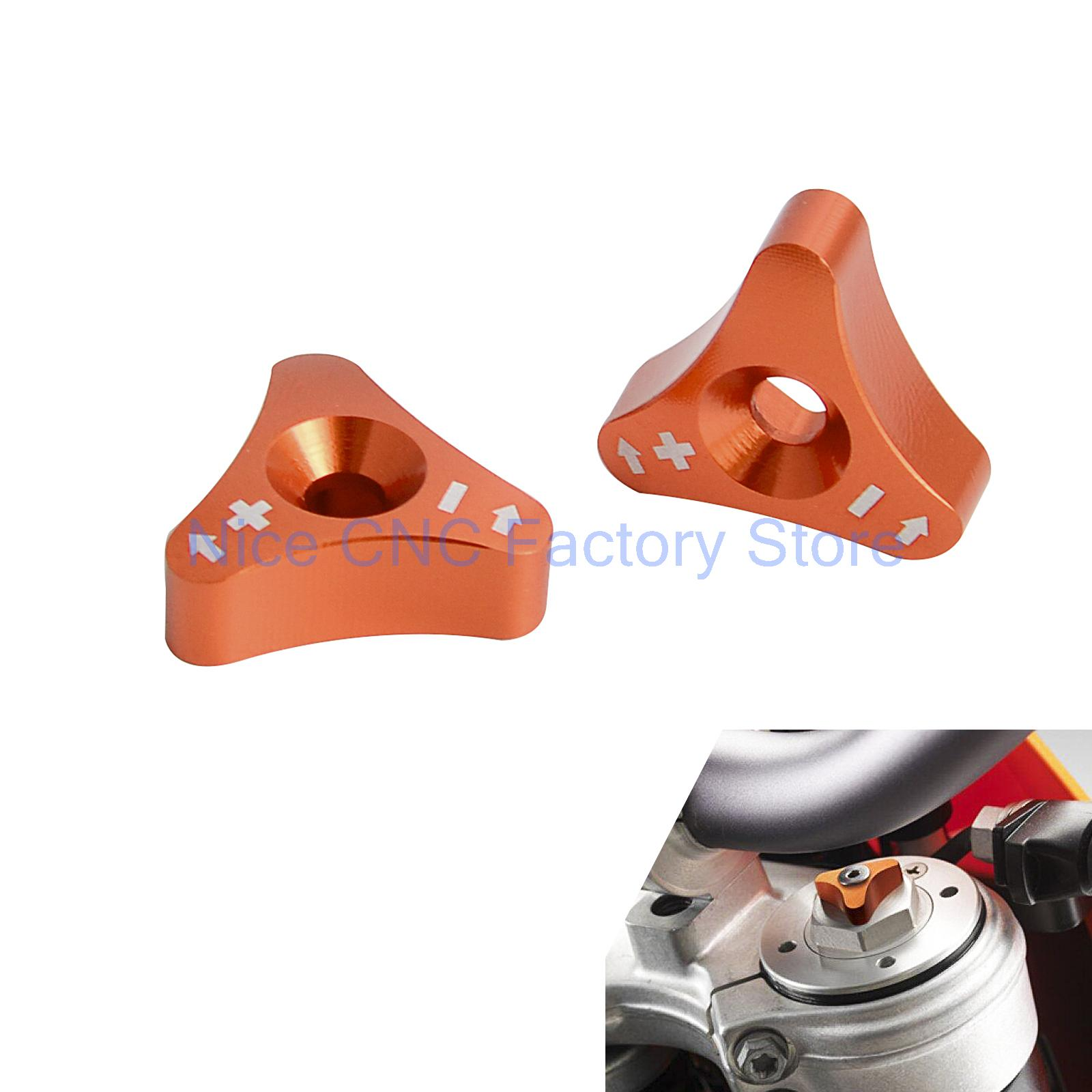 NICECNC Front Shock Absorber SXS Knob adjuster Bolt For 48mm Fork KTM 690 Duke Supermoto Enduro 250 350 450 SX SXF EXC Husqvarna motorcycle front rider seat leather cover for ktm 125 200 390 duke