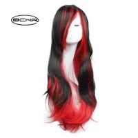 Bchr Новое поступление дешевые волос черный корни два тона ombre красный Искусственные парики естественный шелковистый прямо синтетический па...