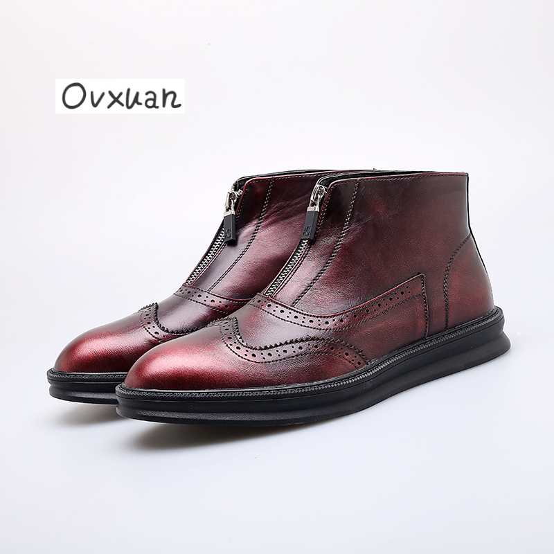 Ovxuan Chelsea Boots Genuine Leather Handmade Luxury Brand Men Boots Party Wedding Dress Casual Boots Carved Leather Brogue Shoe