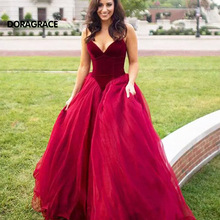 Doragrace Sexy Deep V-Neck Sleeveless Ball Gown Prom Dresses Evening Party Gowns