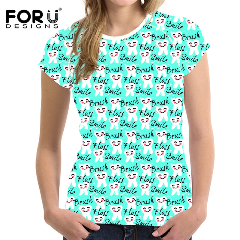 FORUDESIGNS Dentistry Print Women Short Sleeve Tshirts Summer Breathable Female Tee Shirts Casual Round Neck Tops Shirts Clothes