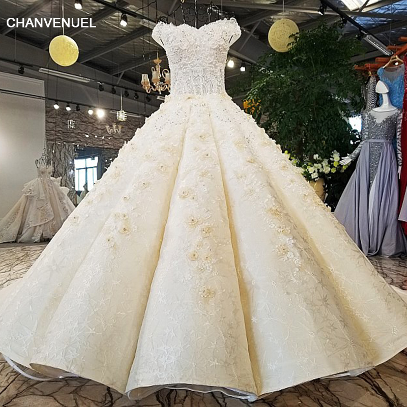 LS54220 Wedding gowns for bridal champagne two lays assymetric skirt ong train newest design lace up back 2018 wedding dress
