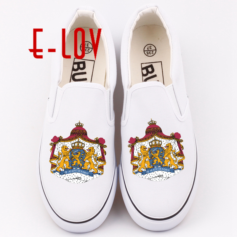 E-LOV Custom Netherlands Holland Canvas Shoes Custom Dutch Dutchman Emblem Casual Loafers Netherlander Shoe 5pcs lot netherlands dutch keyboard for macbook pro 13 a1278 netherlands dutch keyboard mc700 mc724 md101 md102