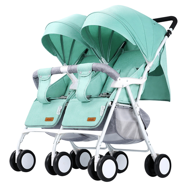 Licht Gewicht Twin Kinderwagen Baby Kinderwagen voor Twee Baby 'S Kan Zitten Kan Liggen Kinderwagen