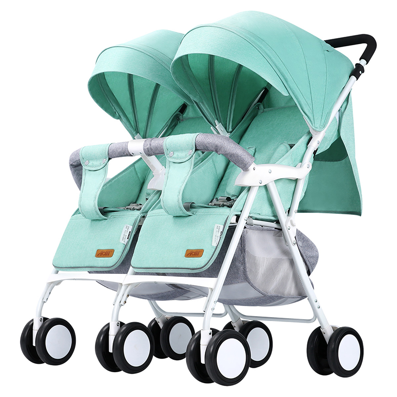 Light Weight Twin Baby Stroller Baby Pram for Two Babies Can Sit Can Lie Baby Pushchair