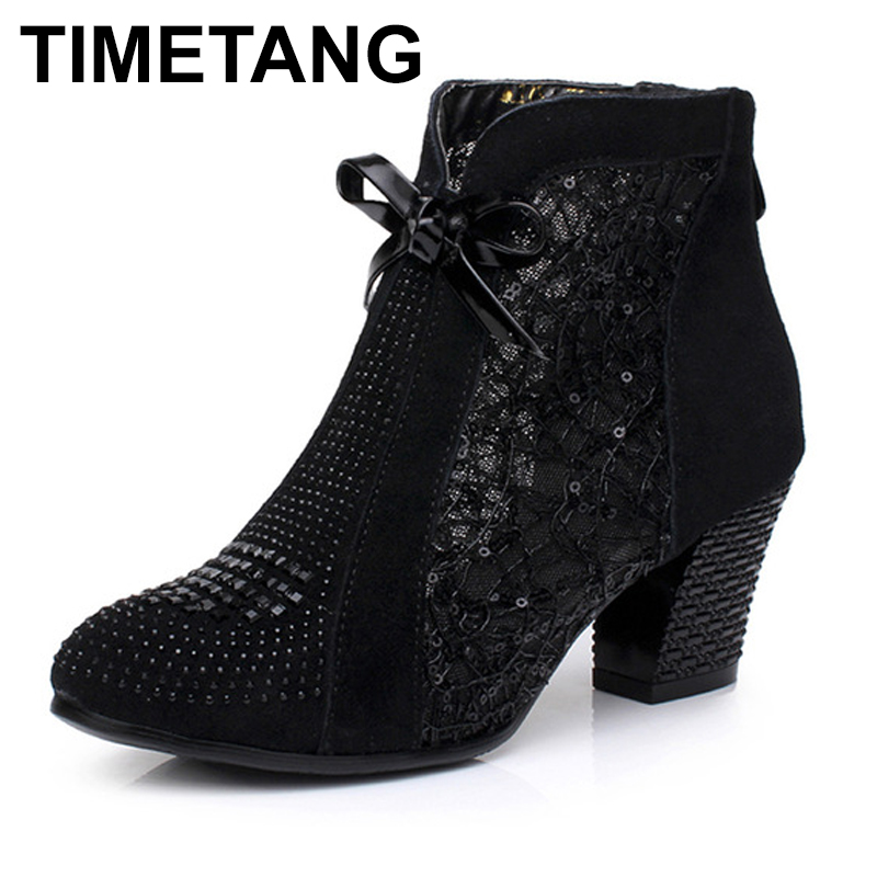 TIMETANG Thick Mid Heel Nubuck Leather Lace Floral Bowknot Pearl Rivets Summer Women Fashion Sandals Ankle