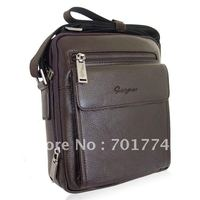 Free Shipping 2012 NEW Men S Gentlemen S NEW Real Genuine Cowhide Leather Coffee Shoulder Messenger