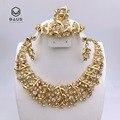 Boda nigeriano beads africanos joyería conjunto chapado en oro de joyería set crysta joyería etíopes de eritrea placa o
