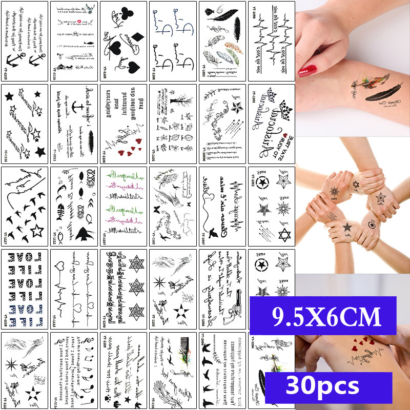 30pcs/set Waterproof Temporary Tattoo Sticker Cartoon Geometric Cat Panda Water Transfer Fake Tatoo For Women Girl