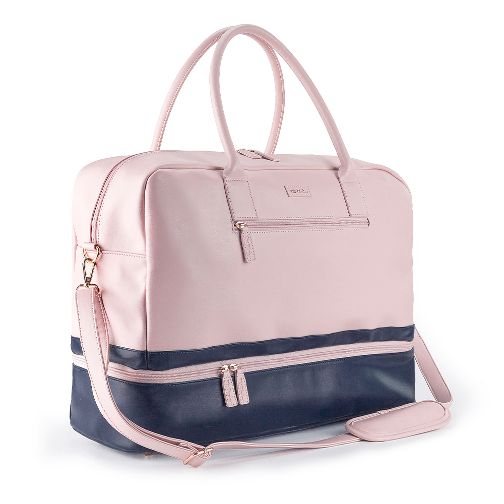 Mealivos PU Fashion Women large pink Weekender Bag Overnight Travel bag Carry On Duffel with Shoe