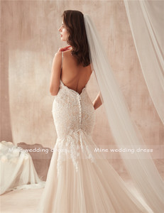 Image 5 - Real Photos Sweetheart Spaghetti Straps Champagne Mermaid Wedding Dress 2020 Lace Appliques Tulle Bridal Gowns Vestido De Noiva